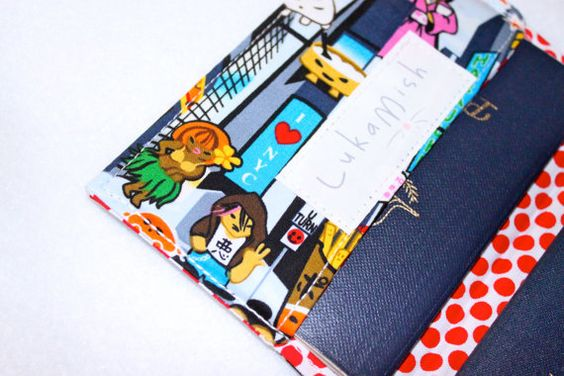 Passport Holder  Tokyo versus New York with red polka by LukaMish, $10.00