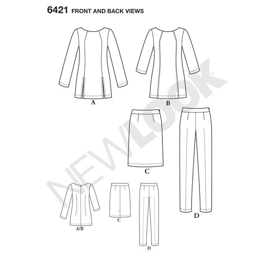 Misses' sportswear pattern includes a tunic with three -quarter or long sleeves and optional front slits. Skinny pants or skirt with side zip is the perfect complement to create this polished look. New Look sewing pattern.