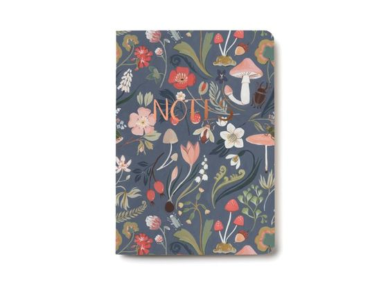 Forest Blue Notebook offset printed with foil details by Kelsey Garrity-Riley for Red Cap Cards #illustration