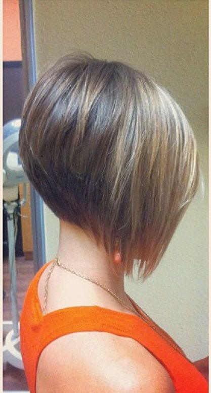 angled bob haircut for fine hair - might be too steep an angle for you, but would give the shape you're after