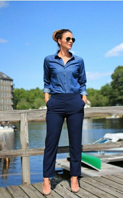 Pin De Ana En Style Inspiration Moda Ropa De Trabajo Pantalon Azul Marino Mujer Ropa Casual Elegante
