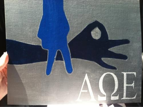 I'm not sure what sister made this, but it is ADORABLE and I want a tshirt with this on it! Alpha Omega Epsilon love!