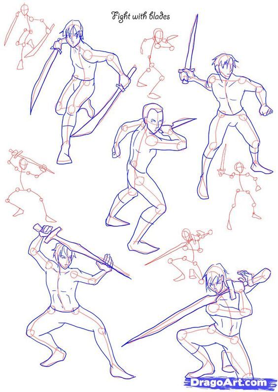 Line Art Action Photo : How to draw fighting poses step by figures people