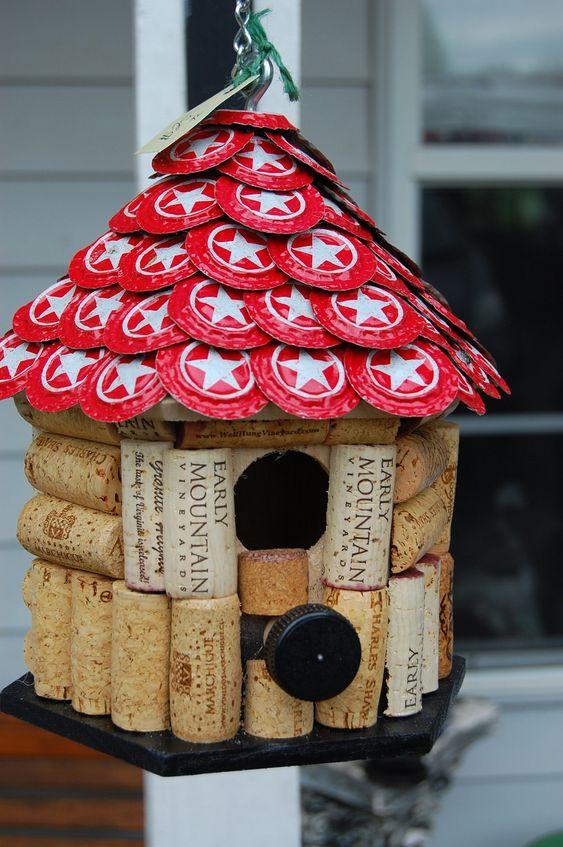 Star Hill  Cap & Wine Cork  Bird House by TikiCommander on Etsy