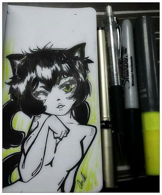 Cat black #inktober