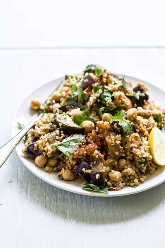 Spiced Eggplant, Chicken & Chickpea Salad via The Clever Carrot