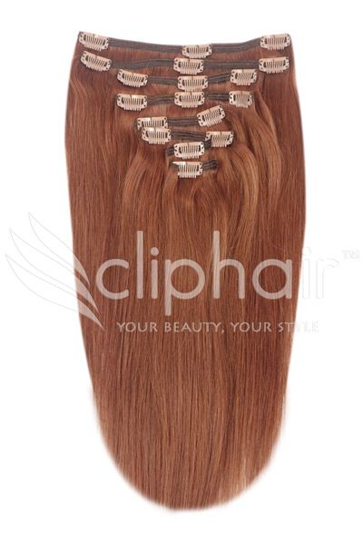 Dark Auburn/Copper Red (#33)18 Inch Full Head Set Clip In Hair Extensions