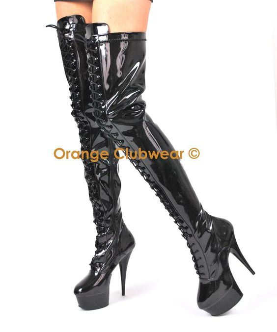 Details about PLEASER Thigh High Stripper Boots Lace Up Front 6 ...