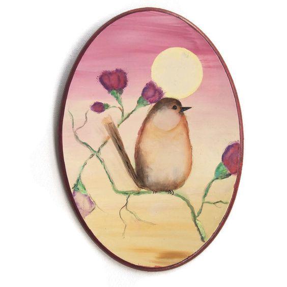 Special bird art acrhlic painting art original handmade art wooden panel  painting art home decorete Children s. Girls Room Wall Hangin paint Canvas acrylic Art Pink flower girl