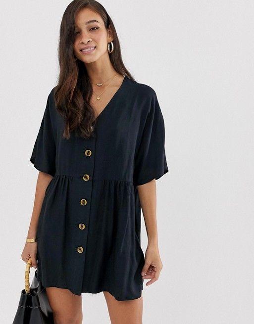 ASOS DESIGN v neck button through mini smock dress | ASOS