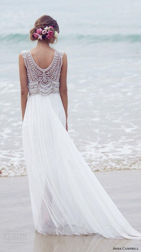 Casual Beach Wedding Dresses: Anna Campbell via Wedding Insparasi