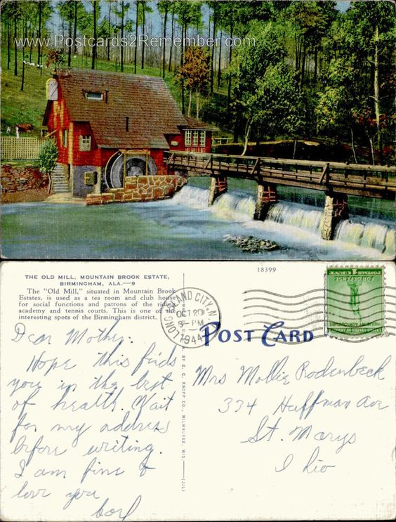 c1944 THE OLD MILL MOUNTAIN BROOK ESTATE WATER BRIDGE BIRMINGHAM, AL POSTCARD