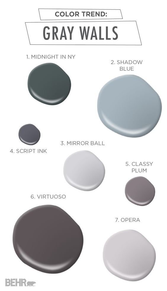 Gray walls color trends and gray on pinterest for Good colors with gray