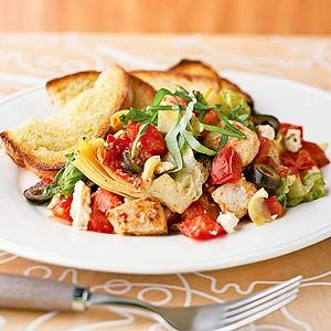 Mediterranean pizza skillet main-dish French bread pizza. ingredients 3  med.  chicken breast cut into 3/4-inch pieces 2  cloves garlic, minced  2  tbsp. olive oil  4  roma tomatoes, chopped  1  14-oz can quartered artichoke hearts, drained  1  2.25-oz can sliced pitted ripe olives,  1/2  tsp. Italian seasoning  1/4 tsp. black pepper  2  c. romaine lettuce or mesclun mix, chopped  1/2  c. crumbled feta cheese   1/3  c. basil leaves, shredded     Sliced crusty Italian or French bread, toasted: Food Recipes, Chicken Artichoke, Yummy Food, Skillet Recipe, Healthy Recipe, Mediterranean Recipes, Healthy Food, Artichoke Tomato