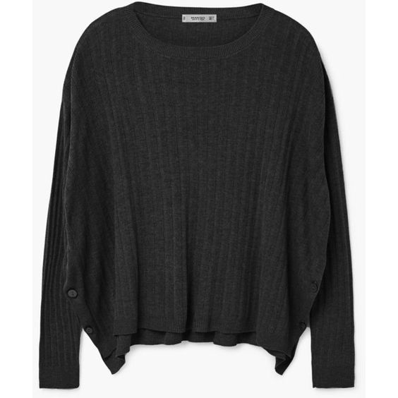 MANGO Decorative Button Sweater (229860 PYG) ❤ liked on Polyvore featuring tops, sweaters, round top, mango sweater, asymmetrical hem top, mango tops and cable knit sweaters