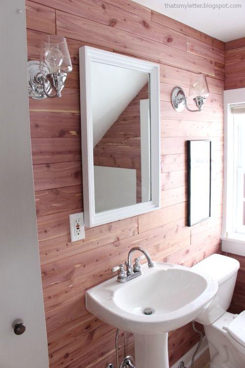 Cedar plank walls diy for the home pinterest home for Bathroom design board