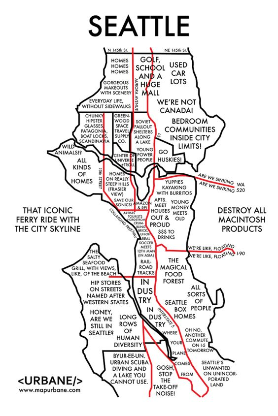 8 Maps That Show Each City By Stereotype  Seattle And Maps