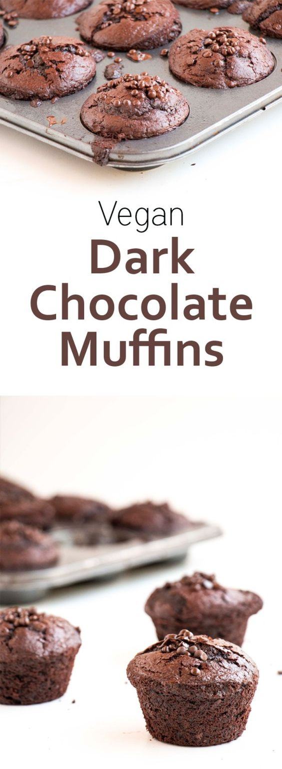 Dark Chocolate Vegan Muffins. Deliciously chocolatey and healthy, made with coconut oil and coconut sugar. Yum!