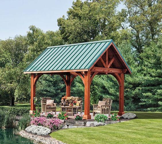 Alpine Cedar Pavilion with metal roof http://www.backyardunlimited.com ...