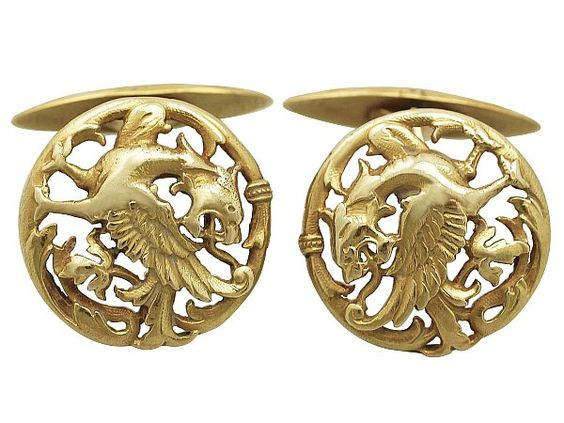 18 ct Yellow Gold Lion Rampant Cufflinks - Antique Circa 1890  SKU: A2132 Price  GBP £1,950.00  http://www.acsilver.co.uk/shop/pc/18-ct-Yellow-Gold-Lion-Rampant-Cufflinks-Antique-Circa-1890-261p7218.htm#.VdG59PlmqzQ