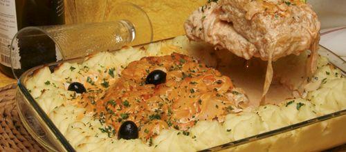 Bacalhau com natas e cebola