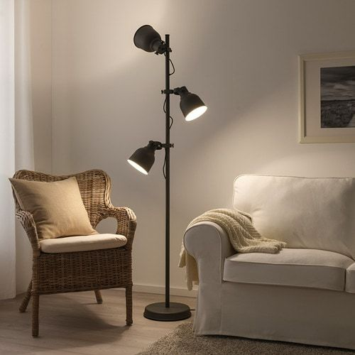 Hektar Floor Lamp W 3 Spots And Led Bulbs Dark Gray Ikea In 2020 Floor Lamp Oversized Floor Lamp Lamp