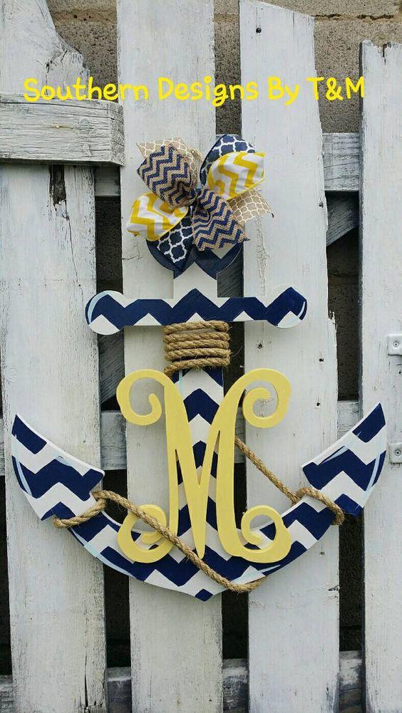 Beautiful wooden anchor door hanger wall art with initial for Anchor door decoration