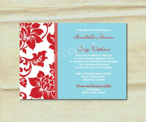 Damask Border In Aqua And Red