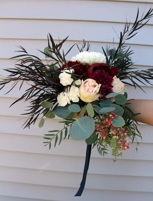 Bridal bouquet, bridesmaids bouquets, garden style bouquet, rustic wedding, navy blue, burgundy, ivory, white, peonies, garden roses, greenery, wedding flowers Chicago