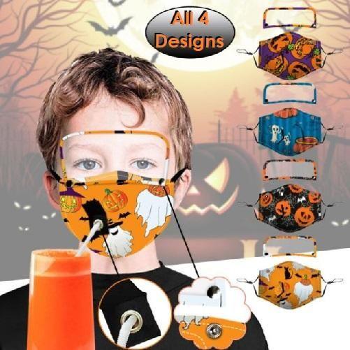 Global Mall Halloween 2020 🎃 Set of 4 Halloween Designs Straw Hole Eye Shield Child Masks in