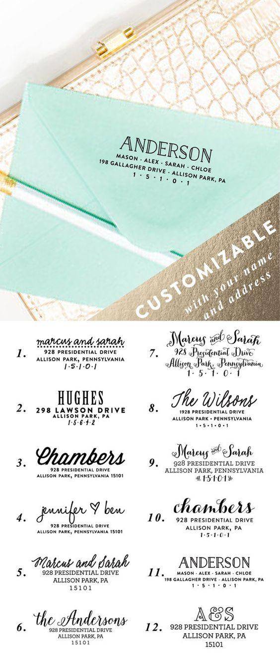 Custom return address stamp stamp for wedding for Wedding invitations return address on front or back