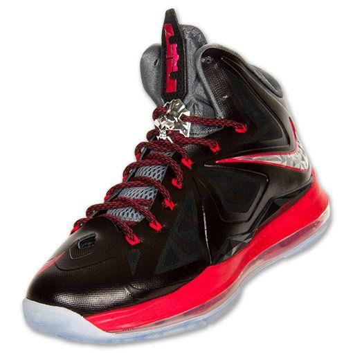 NIKE LeBron X+ Men\u0026#39;s Basketball Shoes, Black/Chrome/University Red/Cool Grey