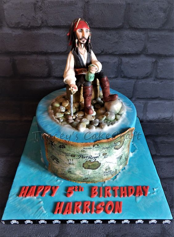 Jack Sparrow cake, all edible. Pirates of the Caribbean
