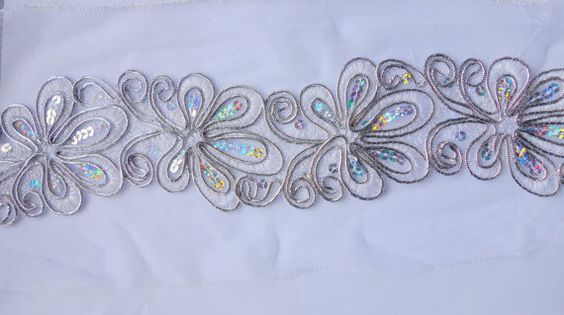 Silver Handmade Trim floral with sequence by ColourCocoon