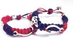 Denizci Olta & Dümen & Çıpa Lacivert Kırmızı ve Beyaz Bay Bayan Tamamı Orgu  Sevgi Bileklik Seti