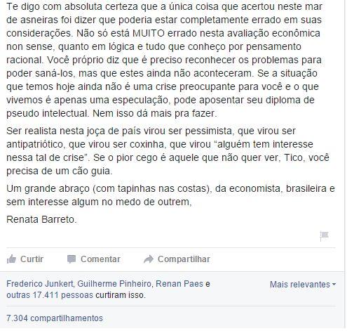 Folha Política: Economista humilha Tico Santa Cruz em resposta a post sobre a crise econômica e faz sucesso na web