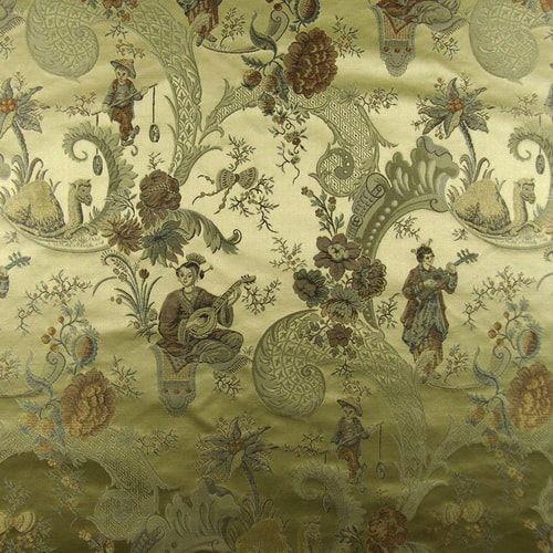 Asian Circus Sesame Silk Jacquard Fabric Stores Online Toile