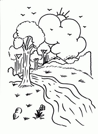 Fun printable coloring page river with trees clouds for River coloring pages