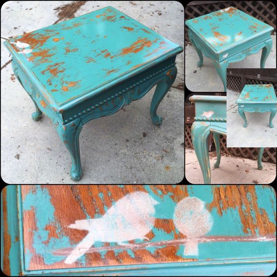 Shabby Chic Table, antique green, table, w/ bird accents, distressed, side table, end table, vintage, refinished, by ReincarnatedwithLove on Etsy https://www.etsy.com/listing/266155958/shabby-chic-table-antique-seafoam-green