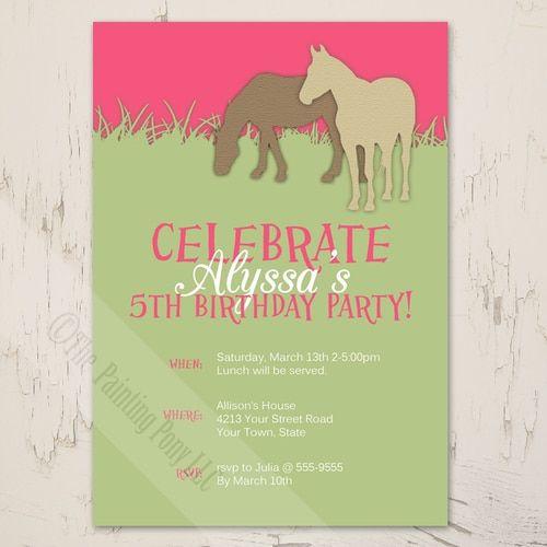 Girls fifth birthday party invite with a pony theme horse girls fifth birthday party invite with a pony theme stopboris Gallery