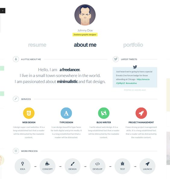 This vCard WordPress theme comes with a responsive layout, a clean - wordpress resume themes