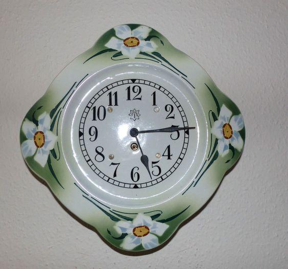 Junghans 20er Jahre Wanduhr Küchenuhr 8 Tage Uhrwerk Porzellan Gehäuse