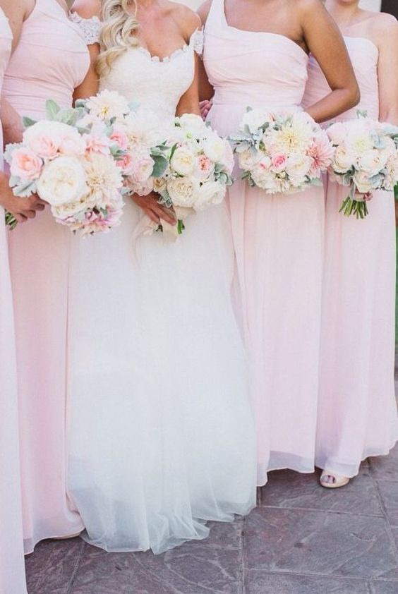 Light pink blush bridesmaids dresses: fabmood.com