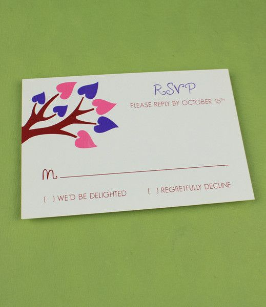 Spring Wedding RSVP Template with Heart Tree – Diy Wedding Rsvp Cards