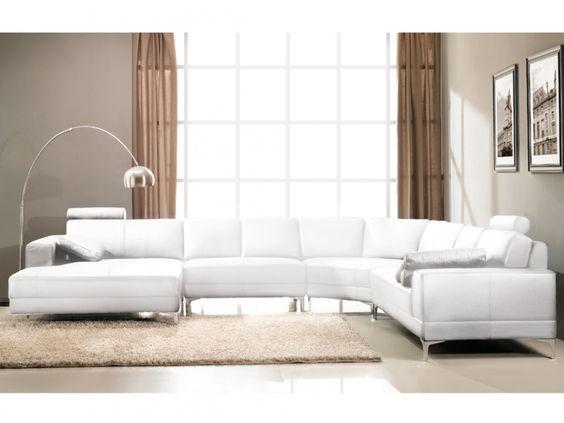 canap panoramique 7 places cuir suprieur donatello blanc ivoire angle gauche - Salon Blanc Ivoire