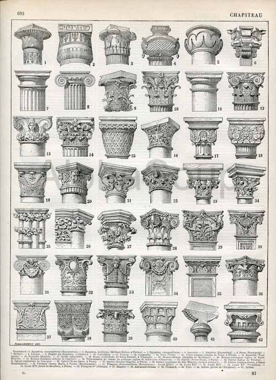 Architectural Building Columns French 1898-1904 Antique Engraving Print Nouveau Larousse Print. $12.00, via Etsy.: