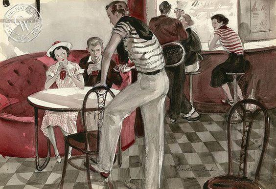 Soda Fountain, 1935, California art by Dorothea Cooke (Gramatky). HD giclee art prints for sale at CaliforniaWatercolor.com - original California paintings, & premium giclee prints for sale