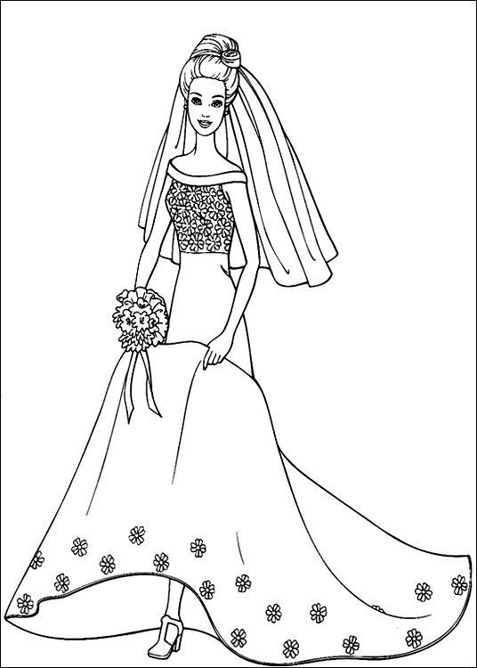 Wedding Gown Coloring Page To Print Coloring Pages Barbie Coloring Pages Barbie Coloring Princess Coloring Pages In 2021