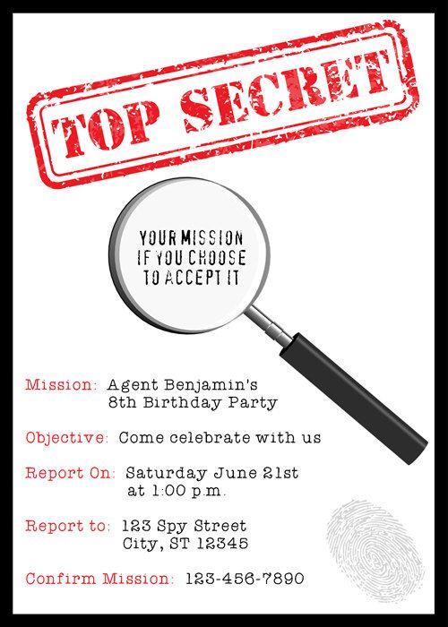 Assez Invitation - imprimable Agent Secret détective Birthday Party  XL24
