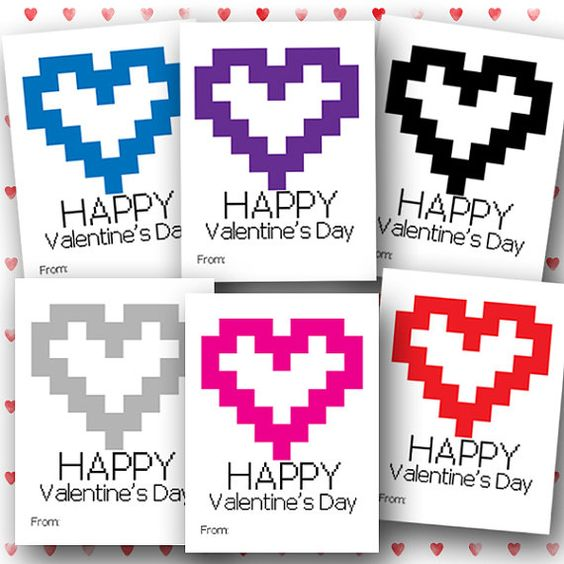 Valentine PRINTABLE cards kids printable Valentine cards kids – Gamer Valentine Cards